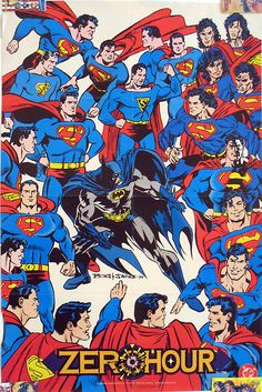 """Here's the little-seen companion to the """"too many Batmen"""" Zero Hour cover, a poster that appeared in Wizard magazine, also by Jon Bogdanove. Can you identify all the various Supermen?"""