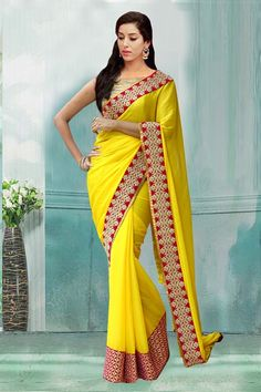 Bollywood Inspired - Festival Wear Yellow Saree  - 80728