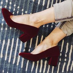 Start shopping at Moorea Seal now to find these amazing Preston Heels that are pretty much to die for. Gotta love that burgundy velvet!