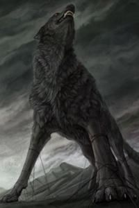 Fenrir is a giant wolf, he was also called Fenris. Snorri Sturluson had also given Fenrir another name, Vanargand. Fenrir is the son of Loki and Angrboda and the brother of Jormungandr (the Midgard Serpent) and Hel. He is the father of Skoll and Hati (who are surnamed Hroðvitnisson), who will chase the sun and moon respectively until Ragnarok, when they will catch up to and devour their targets.   accessed 09/10/2014
