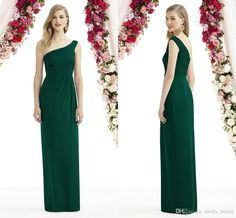 Sexy One Shoulder Bridesmaid Dresses For Cheap 2016 Hunter Color Backless Pleats  Long Floor Chiffon Wedding Party Dress Custom Made Bridesmaid Dresses ... bfd2ff22ae8a