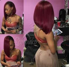 Eseewigs Short Bob Ombre Human Hair Lace Front Wigs With Baby Hai Straight Density unprocessed Brazilian Virgin Hair Wig Black Girls Hairstyles, Pretty Hairstyles, Fashion Hairstyles, Maroon Hair Colors, Natural Hair Styles, Short Hair Styles, Bob Styles, Natural Beauty, Bob Lace Front Wigs