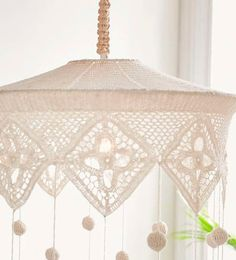 Crochet Lamp, Knit Crochet, Shaby Chic, Chandelier Lamp, Chrochet, Lamp Shades, Crochet Clothes, My Room, Mobiles