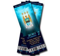 Manchester City Birthday Party Invitation by SweetDigitalCreation Football Invitations, Birthday Party Invitations, Premier League Tickets, Soccer Birthday Parties, Digital Invitations, Manchester City, Rsvp, Birthdays, Tables