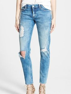 Distressed Skinny Boyfriend Jeans + 5 Staple Denim Pieces To Carry You Through the Seasons on http://www.stylemepretty.com/collection/4717/