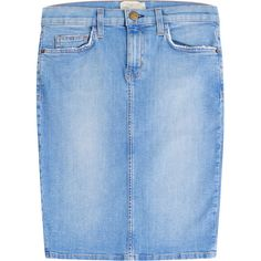 Current/Elliott Denim Pencil Skirt (200,790 KRW) ❤ liked on Polyvore featuring skirts, blue, pencil skirt, current elliott skirt, blue denim skirt, denim skirt and fitted skirts