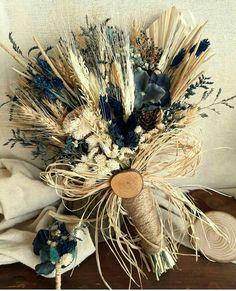 Mavi ve Başak Kuru Çiçek Gelin Buketi  -