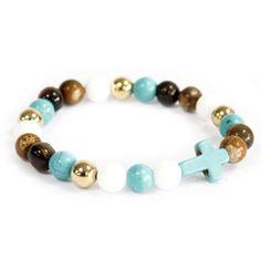 Beautiful Boho Turquoise Royal Beads Gemstone Bracelet with Cross Pendant Gemstone Bracelets, Handmade Bracelets, Gemstone Beads, Hamsa, Boho Jewelry, Unique Jewelry, Jewellery, Swarovski, Crystal Pendant