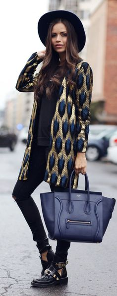 Gold And Navy Outfit Idea by JD Fashion Freak