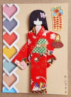 ATC1320 - Going out on a date | ATC with handmade Japanese paper doll.  Materials: Background (from GraphicStock) embellished with a Japanese sticker; kimono (yuzen washi); obi (origami washi) with gold gift paper strip and tiny butterfly decor; purse (Japanese sticker); hair decor (nail art sticker).