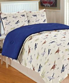 Take a look at this Vintage Plane Microplush Bedding Set by THRO on #zulily today!