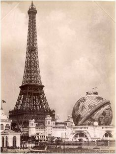 ca. 1900, the Eiffel Tower and the Celestial Globe at the Universal Exhibition in Paris
