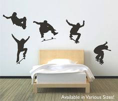 Skateboarders jumping vinyl wall decal sticker by circlewallart, £17.99