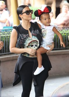 She loves this place: North was seen at Disneyland in Anaheim, California on Wednesday with her mother Kim, just a month after they celebrated her second birthday there