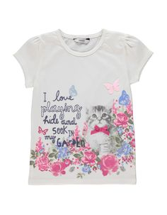 Floral Cat T-shirt | Girls | George at ASDA
