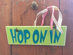 Hop On In Easter Door Hanger Wall Hanging Easter Sign Happy Easter by Kreationsbykellyr on Etsy