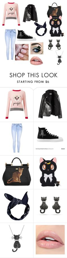 """Total look cat"" by fanny-gasmi ❤ liked on Polyvore featuring Miss Selfridge, Glamorous, Dolce&Gabbana, Boohoo and Amanda Rose Collection"