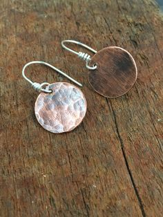 Copper Earrings Rustic Hammered On Sterling Silver Ear Wires Womans Simple Every Day Gift Woman