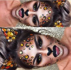 BLING KITTY last Halloween post guys! Hope you have loved them as much as I've loved doing them! get some yourself some pawtastic adorable cat apparel! Creepy Halloween Makeup, Halloween Post, Halloween Inspo, Halloween Looks, Happy Halloween, Leopard Halloween Makeup, Halloween 2018, Halloween Costumes, Leopard Makeup