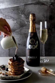House and Garden Magazine shares a delicious pancake recipe served with Windfall Wines on bespoke Beautiful Yummy Pancake Recipe, Ceramic Studio, Wines, Pancakes, Bubbles, Artisan, Tasty, Plates, Ceramics