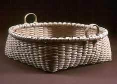 Square-Round Tabletop basket by Black Ash Baskets