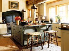 great stools, lights, hood- beautiful kitchen!