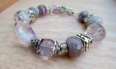 Amethyst bracelet chunky Purple bracelet gemstone by Beadedgemshop, $38.00