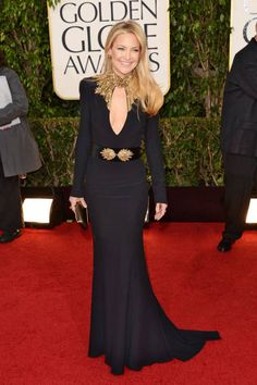 Kate Hudson in black Alexander McQueen, Golden Globes 2013