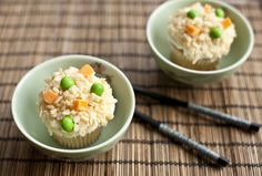 April fools 'fried rice' cupcakes made with rice crispies, orange starburst and green skittles :-)