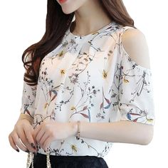 Cheap shirts for women, Buy Quality floral shirt directly from China blusa floral Suppliers: 2018 Chiffon Print Blusas Floral Shirt For Womens Elegant Open Shoulder Blouses Women Ete Plus Size Female Tops 30 Plus Size Shirts, Plus Size Tops, Camisa Floral, Collars For Women, Blouses For Women, Mode Outfits, Fashion Outfits, Style Fashion, Trendy Fashion