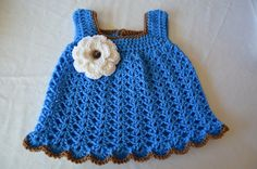 Baby Girl Dress, Crochet Baby Dress, Blue Dress with White Flower, Newborn to 5 Years by FuzzyStitchesCrochet on Etsy