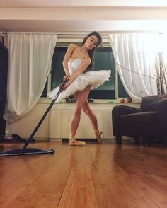 This ballerina spends over 9 hours on her toes every day but only has to spend about 9 seconds to clean her floor! Ballet Images, 9 Hours, Ballerina, Hardwood, Flooring, Elegant, Instagram Posts, Classy, Natural Wood