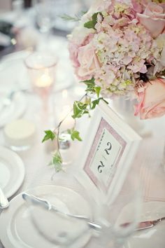 Pretty table numbers and place setting