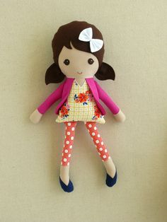Fabric Doll Rag Doll Brown Haired Girl in Floral by rovingovine