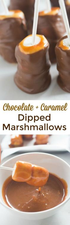 Chocolate and caramel dipped s'mores
