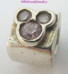 Retired Chamilia Disney Silver Pink CZ Mickey Charm Bead Sterling DIS-500D #Chamilia #European