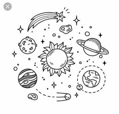 Illustration about Hand drawn solar system with sun, planets, asteroids and other outer space objects. Cute and decorative doodle style line art. Illustration of cosmos, earth, illustration - 57339771 Space Drawings, Doodle Drawings, Easy Drawings, Doodle Art, Simple Cute Drawings, Doodle Frames, Tattoo Drawings, Simple Doodles, Cute Doodles