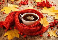 cup of coffee, scarf and yellow leaves on the board Good Morning Coffee, Coffee Break, Coffee Time, Tea Time, Coffee Cups, Coffee Barista, Coffee Shop, Coffee Lovers, Expresso Coffee