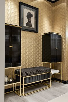 "Academy collection from the Bathroom Luxury line. Refined, elegant and inspired by the ""salle de bain"" bathrooms of Art Dèco times, the Academy collection includes sanitary ware, a matching bathtub and a range of accessories that serve to complement and complete the overall look. As shown, it features a ""ribbed"" motif in black gloss lacquer with gold detail."