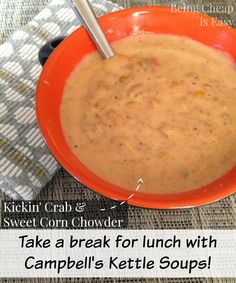 Campbell's Kettle Soups are perfect for a hearty lunch at home!! via Being Cheap is Easy #Ad #Cbias