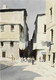 Edward Seago (1910 — 1974, UK) Street in Alfama, Lisbon. watercolour. 15 x 11 in.
