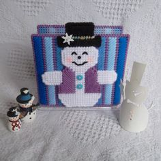 """Plastic Canvas: Smiling Snowman Napkin Holder Covers  ***COVERS ONLY***  -- """"Ready, Set, Sew!"""" by Evie"""
