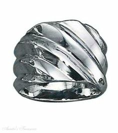 Sterling Silver Diagonal Ridged Band Ring Auntie's Treasures. $84.44
