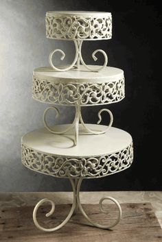 Parisianne Cake & Dessert Stands (set of 3) Cream White Metal - I love this set! Perfect for my Charmed Treats!
