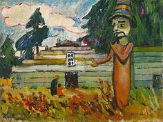 Emily Carr, Potlatch Figure, National Gallery of Canada, Ottawa Tom Thomson, Canadian Painters, Canadian Artists, Emily Carr Paintings, Group Of Seven Paintings, Vancouver Art Gallery, Inuit Art, Canada, Impressionist Paintings