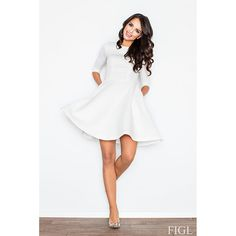 Quilted 3/4 Sleeve Flared Dress (White)