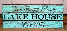 "Fabulous lake house sign on recycled wood.  From ""sunshinegirldesigns"" on etsy."