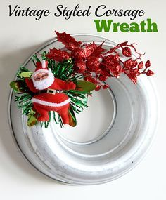 Kitschy vintage styled Christmas wreaths made from jello molds and faux vintage corsages.  Sort of like the corsages your Grandma used to wear to church on Christmas Eve.