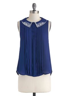 What Makes You Blue-tiful Top - Blue, White, Buttons, Embroidery, Sleeveless, Collared, Mid-length, Work, Casual, Vintage Inspired