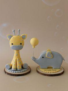 fondant Baby shower cake toppers - fondant giraffe and elephant - Love Cake Create Fondant Giraffe, Elephant Cake Toppers, Elephant Cupcakes, Giraffe Cakes, Elephant Baby Shower Cake, Fondant Animals, Fondant Baby, Fondant Elephant Tutorial, Baby Cupcake